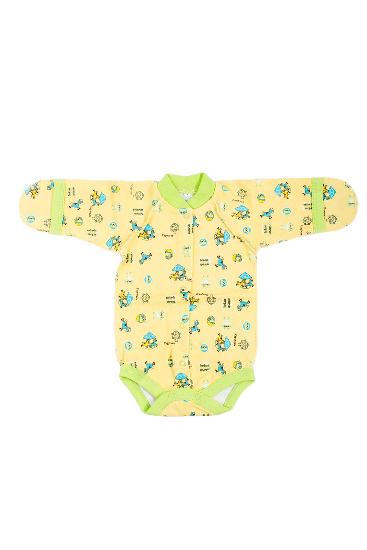 БодиКофточки<br>Хлопковое боди для новорожденного.  В изделии использованы цвета: желтый, зеленый и др.  Размер соответствует росту ребенка.<br><br>По сезону: Всесезон<br>Размер : 62<br>Материал: Хлопок<br>Количество в наличии: 1