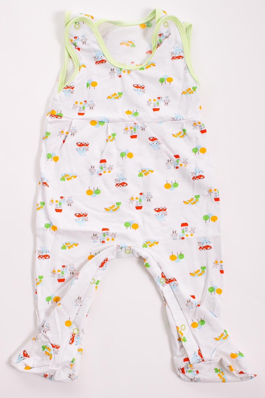 КомбинезонКомбинезончики<br>Хлопковый комбинезон для новорожденного  Цвет: белый, зеленый, мультицвет  Размер соответствует росту ребенка<br><br>Размер : 80<br>Материал: Трикотаж<br>Количество в наличии: 1