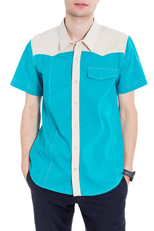 РубашкаРубашки<br>Классическая мужская рубашка с короткими рукавами. Отличный вариант для любого случая.  Цвет: голубой, молочный  Рост мужчины-фотомодели 182 см<br><br>По сезону: Лето<br>Размер : 46,48,50,52<br>Материал: Блузочная ткань<br>Количество в наличии: 15