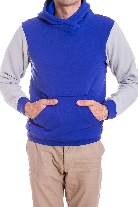 ТолстовкаТолстовки<br>Теплая мужская толстовка с капюшоном. Длинные рукава с манжетами. Карманы по бокам изделия.  В изделии использованы цвета: синий, серый.  Рост мужчины-фотомодели 182 см<br><br>По сезону: Зима<br>Размер : 46<br>Материал: Трикотаж<br>Количество в наличии: 1