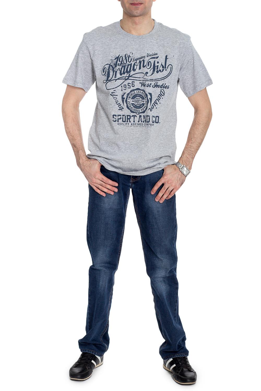 ФутболкаФутболки<br>Мужская хлопковая футболка. Отличный выбор для повседневного гардероба и активного отдыха.  В изделии использованы цвета: серый, синий  Рост мужчины-фотомодели 177 см<br><br>По сезону: Всесезон<br>Размер : 46,50<br>Материал: Трикотаж<br>Количество в наличии: 2
