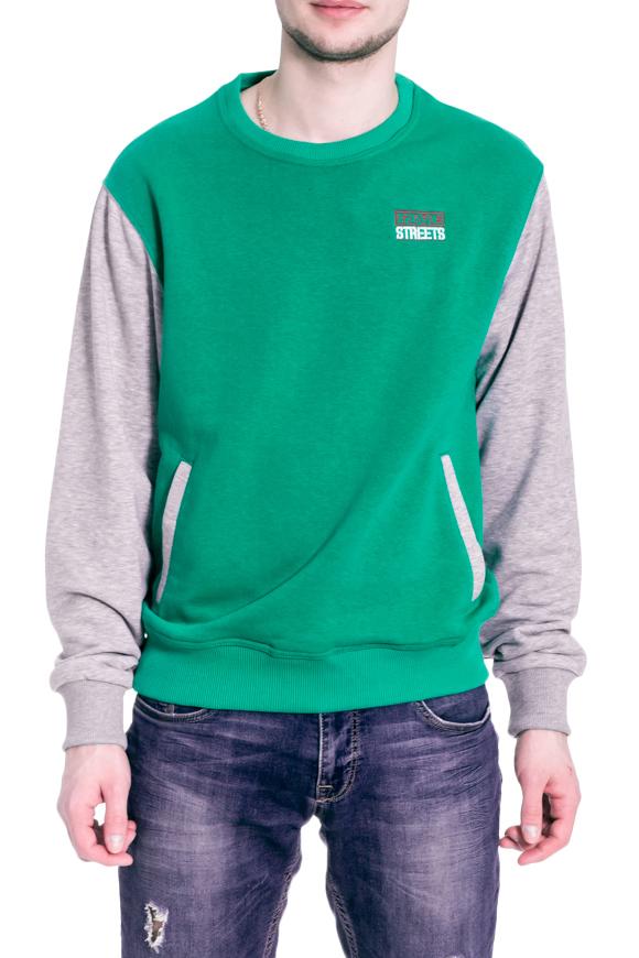 ТолстовкаДжемперы<br>Цветная толстовка с круглой горловиной и длинными рукавами. Модель выполнена из плотного трикотажа. Отличный выбор для повседневного гардероба.  В изделии использованы цвета: серый, зеленый  Рост мужчины-фотомодели 182 см<br><br>По сезону: Осень,Весна<br>Размер : 44,46,48-50,52-54,56-58,60-62<br>Материал: Трикотаж<br>Количество в наличии: 6