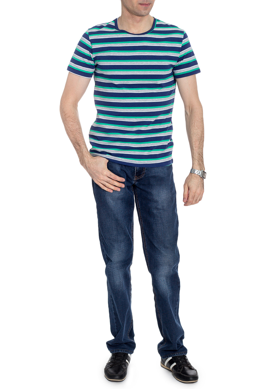 ФутболкаФутболки<br>Мужская хлопковая футболка. Отличный выбор для повседневного гардероба и активного отдыха.  В изделии использованы цвета: синий, серый, зеленый, белый  Рост мужчины-фотомодели 177 см<br><br>По сезону: Всесезон<br>Размер : 46,48,50,52<br>Материал: Трикотаж<br>Количество в наличии: 4