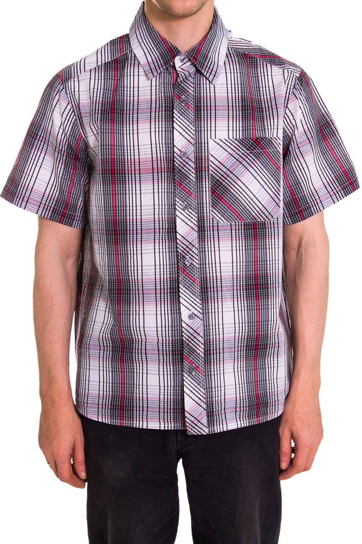 РубашкаРубашки<br>Мужская хлопковая рубашка с коротким рукавом  Цвет: белый, серый, красный<br><br>По сезону: Лето<br>Размер : 46<br>Материал: Хлопок<br>Количество в наличии: 1