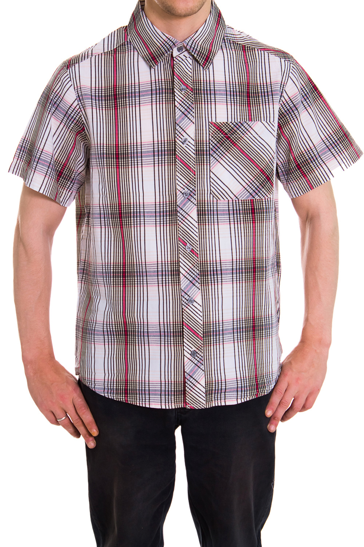 РубашкаРубашки<br>Мужская хлопковая рубашка с коротким рукавом  Цвет: белый, фиолетовый, красный, коричневый<br><br>По сезону: Лето<br>Размер : 46,48<br>Материал: Хлопок<br>Количество в наличии: 2