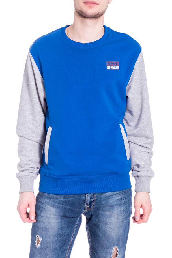 ТолстовкаДжемперы<br>Цветная толстовка с круглой горловиной и длинными рукавами. Модель выполнена из плотного трикотажа. Отличный выбор для повседневного гардероба.  В изделии использованы цвета: серый, синий  Рост мужчины-фотомодели 182 см<br><br>По сезону: Осень,Весна<br>Размер : 44,46,48-50,52-54,60-62<br>Материал: Трикотаж<br>Количество в наличии: 5