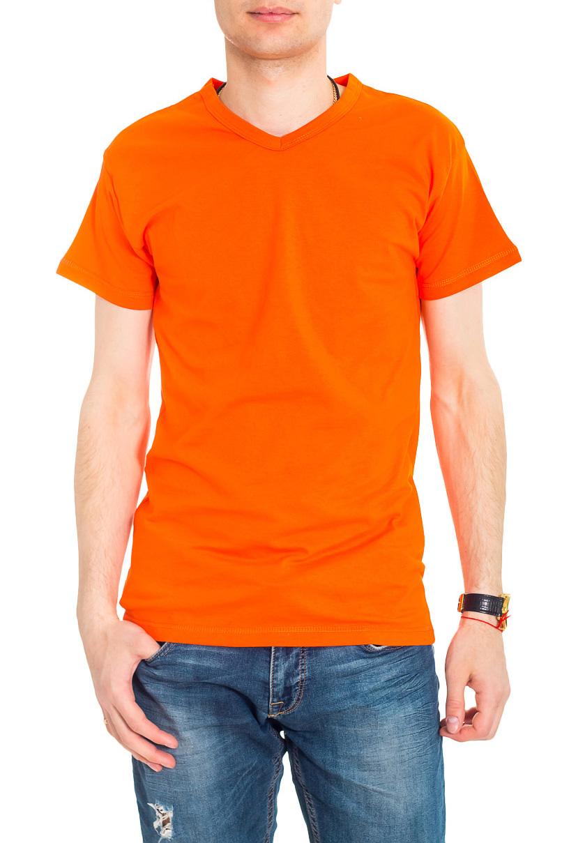 ФутболкаФутболки<br>Мужская хлопковая футболка. Отличный выбор для повседневного гардероба и активного отдыха.  Цвет: оранжевый.  Рост мужчины-фотомодели 182 см<br><br>По сезону: Всесезон<br>Размер : 46<br>Материал: Хлопок<br>Количество в наличии: 1