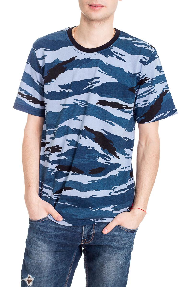 ФутболкаФутболки<br>Стильная мужская футболка полуприталенного силуэта.  Цвет: сине-голубые оттенки.<br><br>По сезону: Всесезон<br>Размер : 46,48,50<br>Материал: Хлопок<br>Количество в наличии: 10