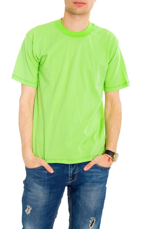 ФутболкаФутболки<br>Мужская хлопковая футболка. Отличный выбор для повседневного гардероба и активного отдыха.  Цвет: зеленый.  Рост мужчины-фотомодели 182 см<br><br>По сезону: Всесезон<br>Размер : 42<br>Материал: Хлопок<br>Количество в наличии: 3