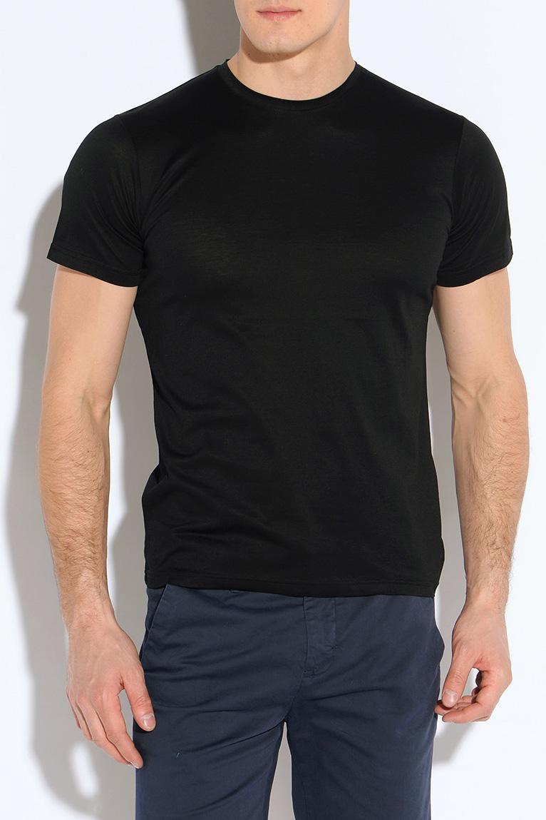 ФутболкаФутболки<br>Классическая мужская футболка из высокотехнологичного мерсеризованного хлопка, который не садится и не мнется при стирке. Благодаря специальной обработке, мерсеризованный хлопок приобретает легкий шелковый блеск, становится более гладким, приятным на ощупь.  Цвет: черный.  Рост мужчины-фотомодели 182 см.<br><br>По сезону: Всесезон<br>Размер : 52,54<br>Материал: Трикотаж<br>Количество в наличии: 2