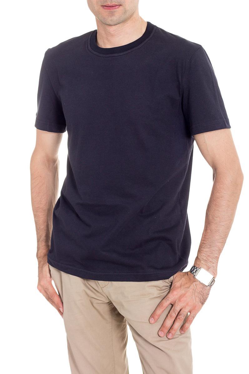 ФутболкаФутболки<br>Мужская хлопковая футболка с короткими рукавами. Отличный выбор для базового гардероба.   Цвет: темно-синий  Рост мужчины-фотомодели 177 см<br><br>По сезону: Всесезон<br>Размер : 46,48,54,56<br>Материал: Хлопок<br>Количество в наличии: 22