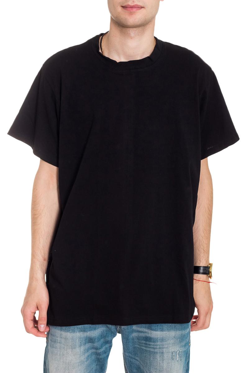 ФутболкаФутболки<br>Мужская хлопковая футболка. Отличный выбор для повседневного гардероба и активного отдыха.  Цвет: черный  Рост мужчины-фотомодели 182 см<br><br>По сезону: Всесезон<br>Размер : 42-44,54-56<br>Материал: Хлопок<br>Количество в наличии: 4