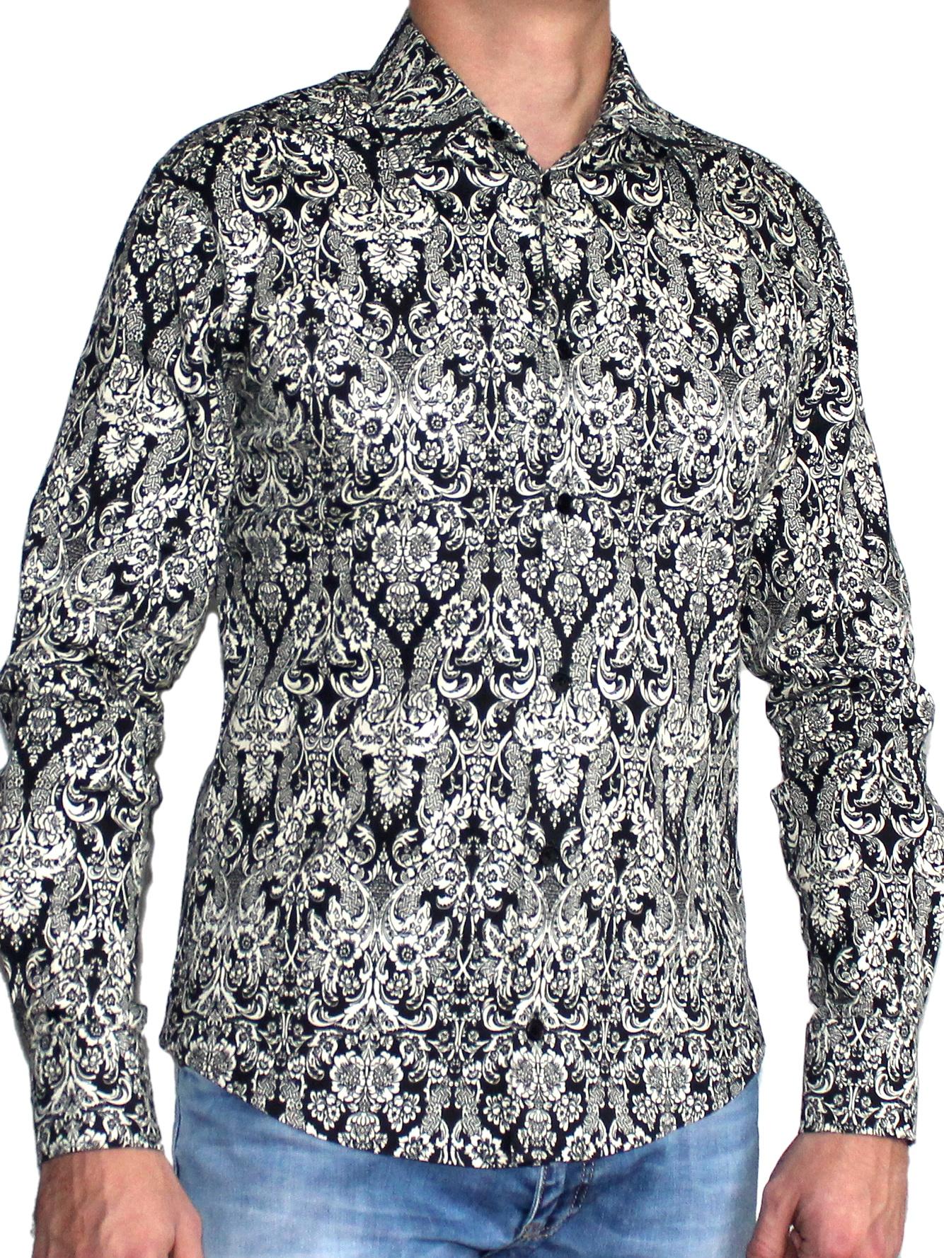 РубашкаРубашки<br>Стильная мужская рубашка с застежкой на пуговицы.  Цвет: черный, белый<br><br>По сезону: Всесезон<br>Размер: 44-46,48,50-52,54<br>Материал: 100% хлопок<br>Количество в наличии: 1