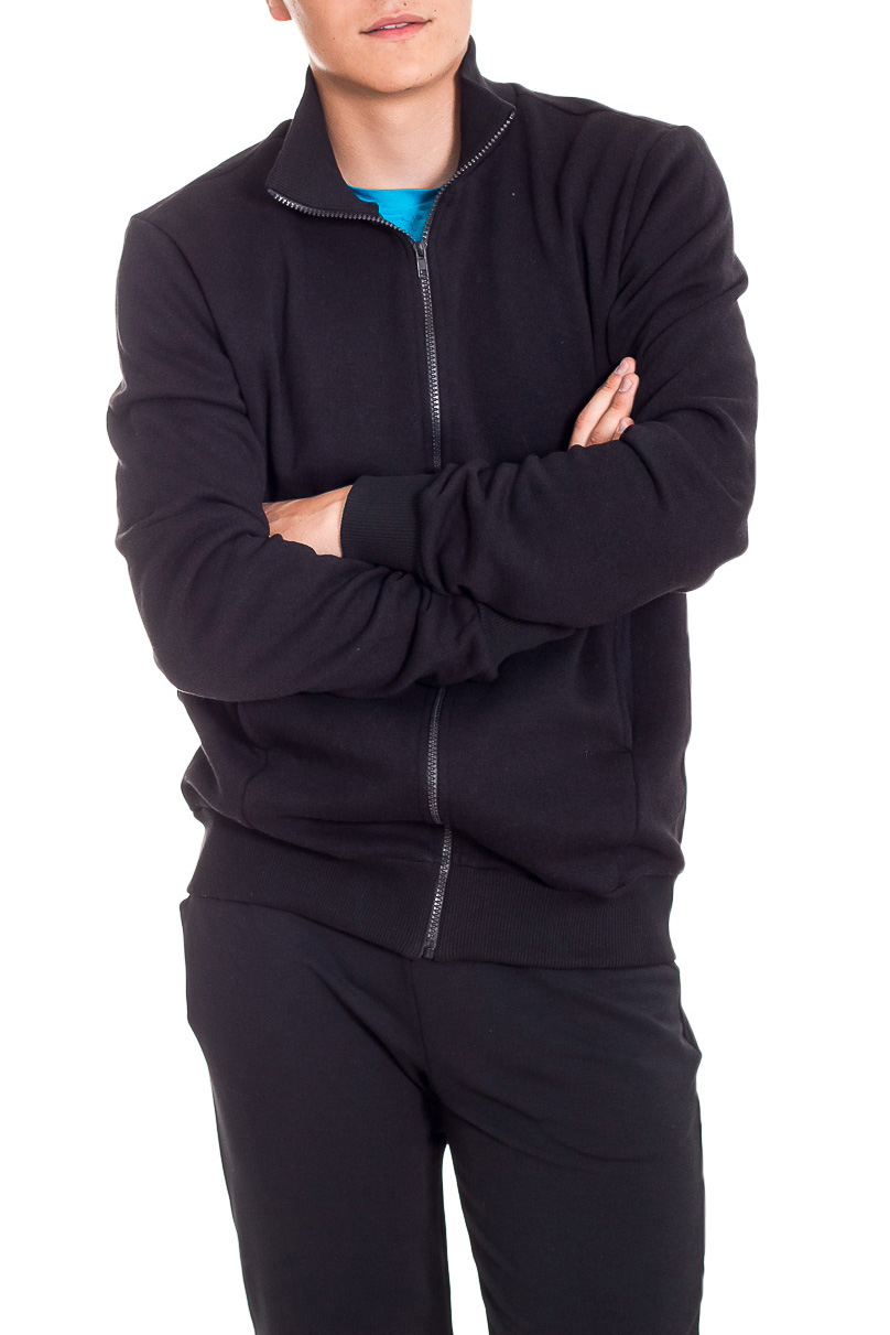 КурткаСпортивная одежда<br>Мужская спортивная куртка на молнии. Длинные рукава с манжетами. Карманы по бокам изделия.  В изделии использованы цвета: черный  Рост мужчины-фотомодели 178 см<br><br>По сезону: Осень,Весна<br>Размер : 46,48,50,52,54<br>Материал: Трикотаж<br>Количество в наличии: 5