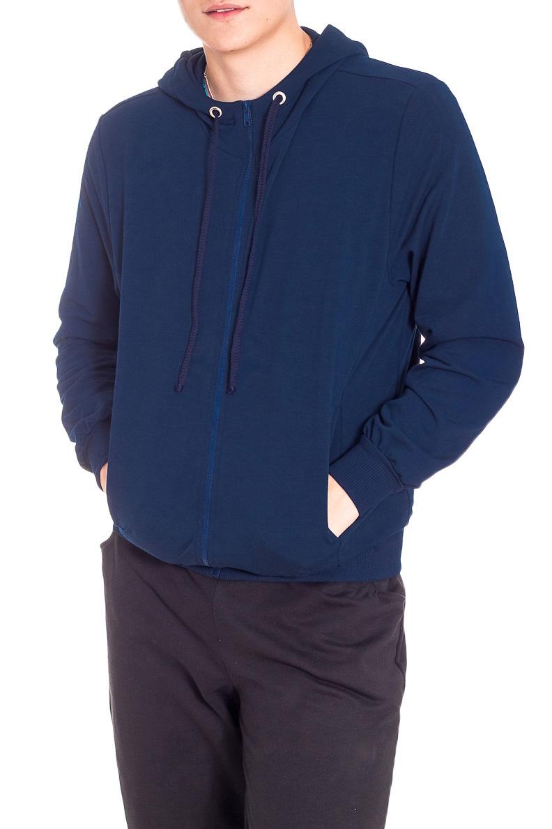 КурткаСпортивная одежда<br>Мужская трикотажная куртка с капюшоном. Длинные рукава с манжетами. Карманы по бокам изделия.  В изделии использованы цвета: синий  Рост мужчины-фотомодели 178 см<br><br>По сезону: Осень,Весна<br>Размер : 46,48,50,52,54,56<br>Материал: Трикотаж<br>Количество в наличии: 6