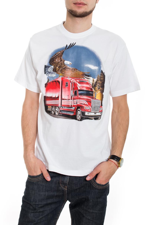 ФутболкаФутболки<br>Качественная мужская футболка пошитая из кулирной пряжи по новой технологии без боковых швов и состоит из 100% хлопка.  В изделии использованы цвета: белый, голубой, красный и др.  Рост мужчины-фотомодели 182 см<br><br>По сезону: Всесезон<br>Размер : 48,50<br>Материал: Трикотаж<br>Количество в наличии: 2
