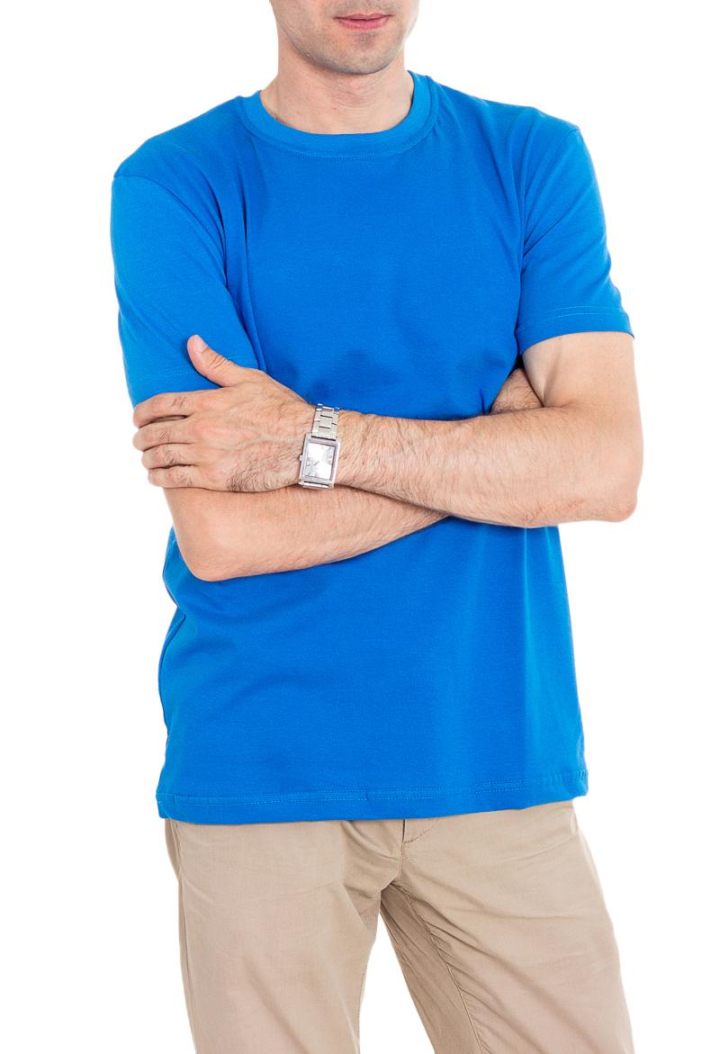 ФутболкаФутболки<br>Мужская хлопковая футболка с короткими рукавами. Отличный выбор для базового гардероба.   Цвет: синий  Рост мужчины-фотомодели 177 см<br><br>По сезону: Всесезон<br>Размер : 46,48,50,54<br>Материал: Хлопок<br>Количество в наличии: 18