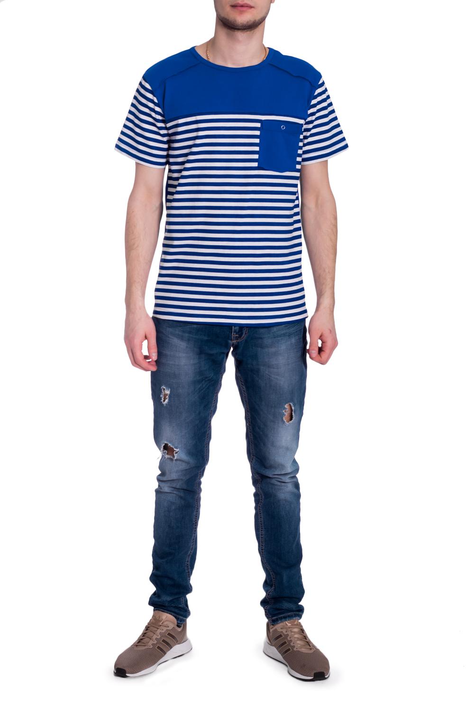 ДжемперФутболки<br>Стильная мужская футболка в морском стиле. Модель выполнена из мягкого хлопка. Отличный выбор для повседневного гардероба.  В изделии использованы цвета: синий, белый  Рост мужчины-фотомодели 182 см<br><br>По сезону: Всесезон<br>Размер : 52<br>Материал: Хлопок<br>Количество в наличии: 1