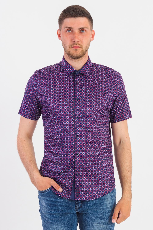 Рубашка рубашка мужская mustang цвет красный синий 1006099 11060 размер xxxl 56