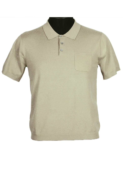 ФутболкаФутболки<br>Мужская хлопковая футболка-поло. Отличный выбор для повседневного гардероба и активного отдыха.  Цвет: бежевый<br><br>По сезону: Всесезон<br>Размер : 50<br>Материал: Трикотаж<br>Количество в наличии: 1