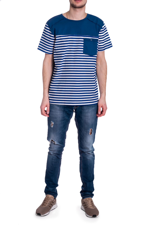 ДжемперФутболки<br>Стильная мужская футболка в морском стиле. Модель выполнена из мягкого хлопка. Отличный выбор для повседневного гардероба.  В изделии использованы цвета: синий, белый  Рост мужчины-фотомодели 182 см<br><br>По сезону: Всесезон<br>Размер : 54,56,58<br>Материал: Хлопок<br>Количество в наличии: 3