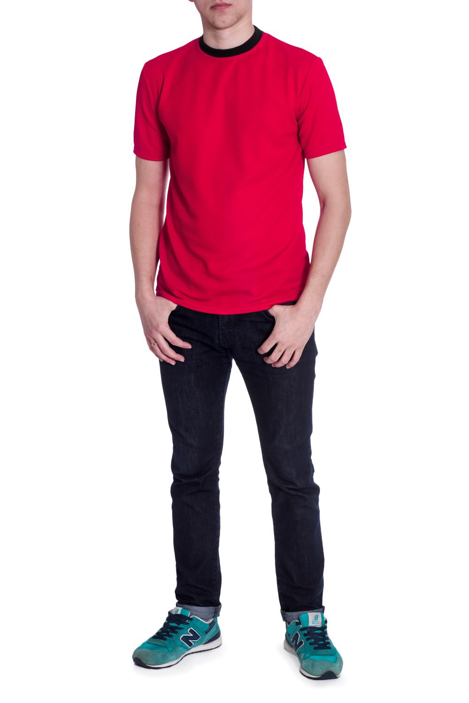 ФутболкаФутболки<br>Мужская трикотажная футболка с короткими рукавами. Отличный выбор для базового гардероба.   В изделии использованы цвета: красный, черный  Рост мужчины-фотомодели 178 см<br><br>По сезону: Всесезон<br>Размер : 46<br>Материал: Трикотаж<br>Количество в наличии: 1