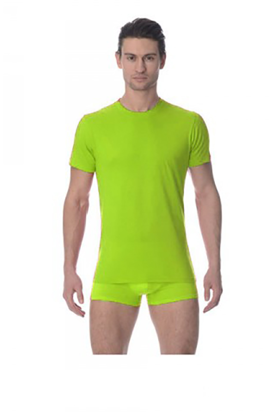 ФутболкаФутболки<br>Мужская футболка свободного кроя с короткими втачными рукавами и круглым вырезом горловины. Изготовлена из качественного плотного хлопка. Футболка отлично впишется в любой повседневный образ.  Цвет: салатовый<br><br>По сезону: Всесезон<br>Размер : 48,50,52,54,56<br>Материал: Хлопок<br>Количество в наличии: 3