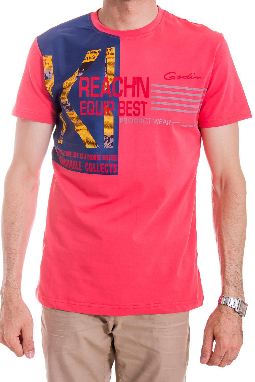 ФутболкаФутболки<br>Классическая мужская футболка. Отличный вариант для повседневного образа.  Цвет: розово-коралловый с синей вставкой.  Рост мужчины-фотомодели 182 см<br><br>По сезону: Всесезон<br>Размер : 52,54<br>Материал: Хлопок<br>Количество в наличии: 1