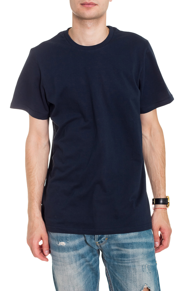 ФутболкаФутболки<br>Мужская хлопковая футболка. Отличный выбор для повседневного гардероба и активного отдыха.  Цвет: темно-синий  Рост мужчины-фотомодели 182 см<br><br>По сезону: Всесезон<br>Размер : 46,48,50,52,54<br>Материал: Хлопок<br>Количество в наличии: 10