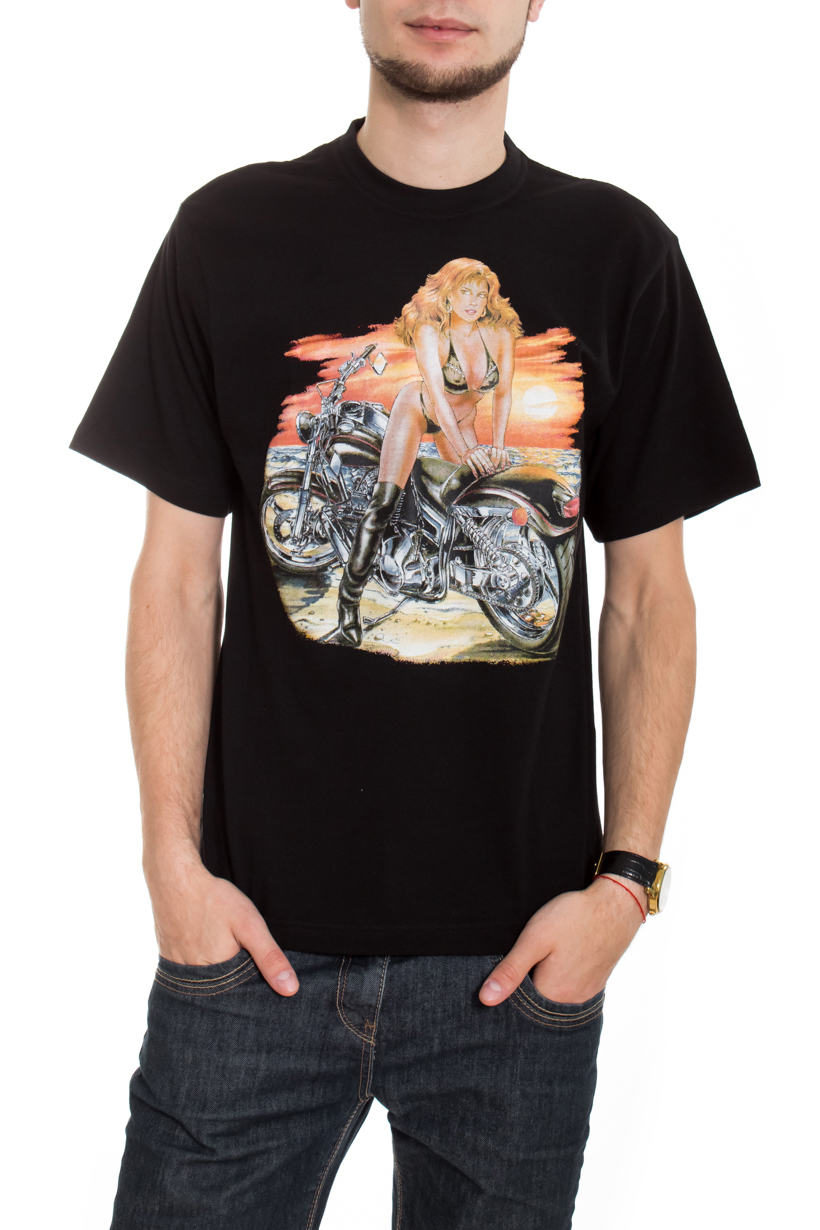 ФутболкаФутболки<br>Качественная мужская футболка пошитая из кулирной пряжи по новой технологии без боковых швов и состоит из 100% хлопка.  В изделии использованы цвета: черный, оранжевый и др.  Рост мужчины-фотомодели 182 см<br><br>По сезону: Всесезон<br>Размер : 48,50<br>Материал: Трикотаж<br>Количество в наличии: 2