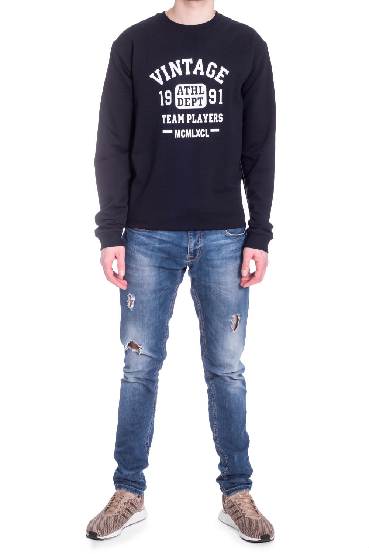 ДжемперДжемперы<br>Универсальный мужской джемпер с контрастным принтом. Модель выполнена из хлопкового трикотажа. Отличный выбор для повседневного гардероба.  В изделии использованы цвета: темно-синий, белый  Рост мужчины-фотомодели 182 см<br><br>По сезону: Осень,Весна<br>Размер : 58<br>Материал: Трикотаж<br>Количество в наличии: 1