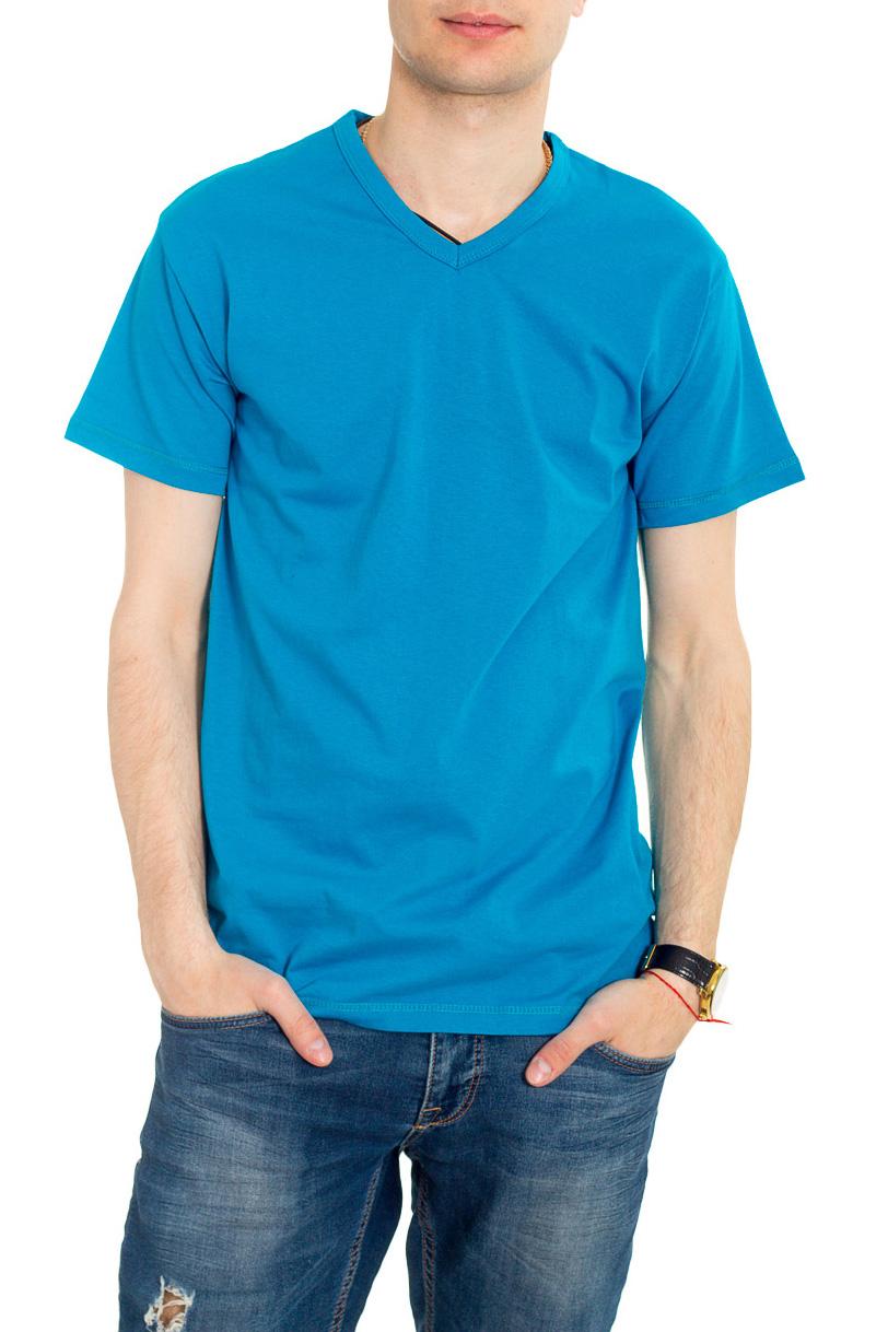 ФутболкаФутболки<br>Мужская хлопковая футболка. Отличный выбор для повседневного гардероба и активного отдыха.  Цвет: голубой.  Рост мужчины-фотомодели 182 см<br><br>По сезону: Всесезон<br>Размер : 46,48<br>Материал: Хлопок<br>Количество в наличии: 7