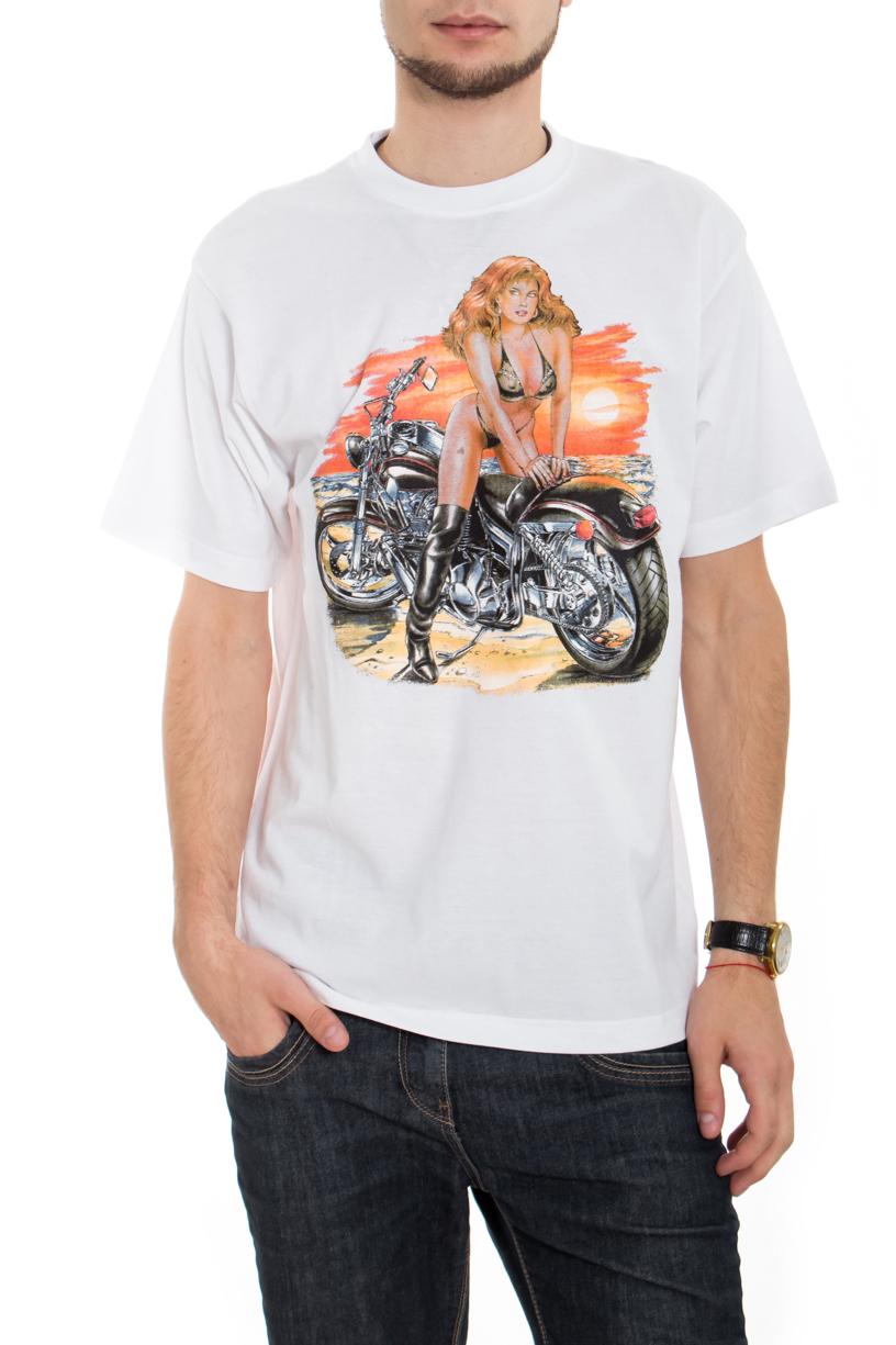 ФутболкаФутболки<br>Качественная мужская футболка пошитая из кулирной пряжи по новой технологии без боковых швов и состоит из 100% хлопка.  В изделии использованы цвета: белый, оранжевый и др.  Рост мужчины-фотомодели 182 см<br><br>По сезону: Всесезон<br>Размер : 48,50<br>Материал: Трикотаж<br>Количество в наличии: 2