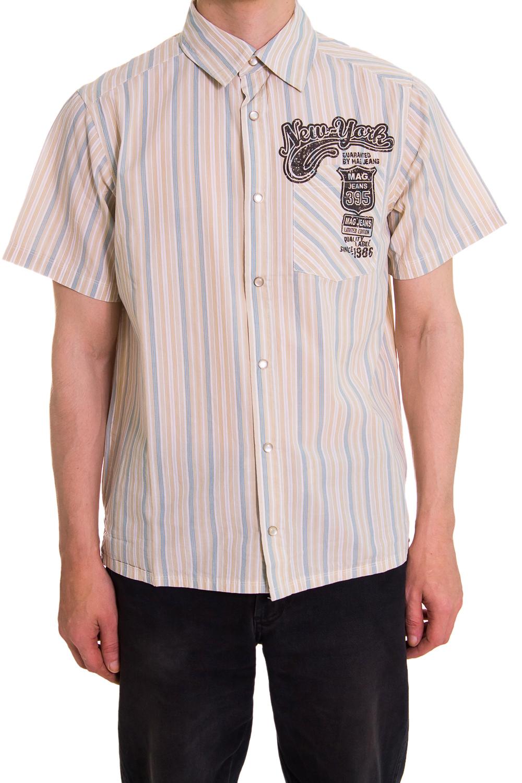 РубашкаРубашки<br>Мужская хлопковая рубашка с коротким рукавом  Цвет: коралловый, голубой<br><br>По сезону: Лето<br>Размер : 46,48,50<br>Материал: Хлопок<br>Количество в наличии: 4