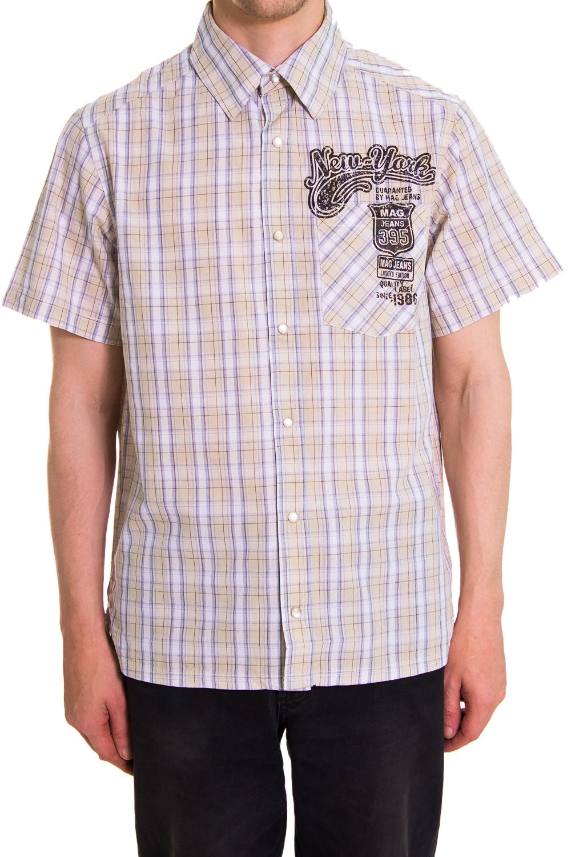 РубашкаРубашки<br>Мужская хлопковая рубашка с коротким рукавом  Цвет: бежевый, сиреневый<br><br>По сезону: Лето<br>Размер : 46,48<br>Материал: Хлопок<br>Количество в наличии: 2