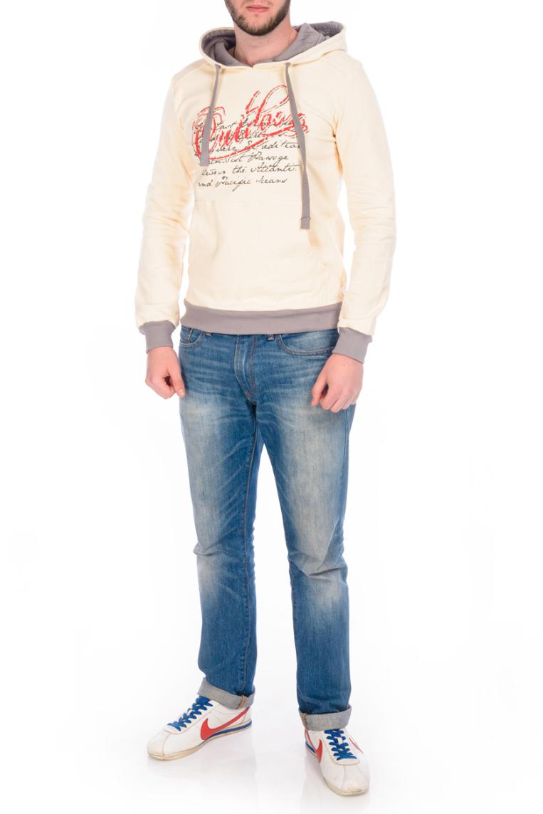 ТолстовкаТолстовки<br>Универсальная толстовка с капюшоном. Модель выполнена из эластичного трикотажа. Отличный выбор для повседневного гардероба.  В изделии использованы цвета: молочный, красный  Ростовка изделия 170-176 см.<br><br>По сезону: Осень,Весна<br>Размер : 48,50,52,54<br>Материал: Трикотаж<br>Количество в наличии: 2