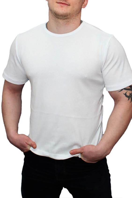 ФутболкаФутболки<br>Хлопковая мужская футболка  Цвет: белый  Ростовка изделия 170 см.<br><br>По сезону: Всесезон<br>Размер : 54,58<br>Материал: Хлопок<br>Количество в наличии: 4