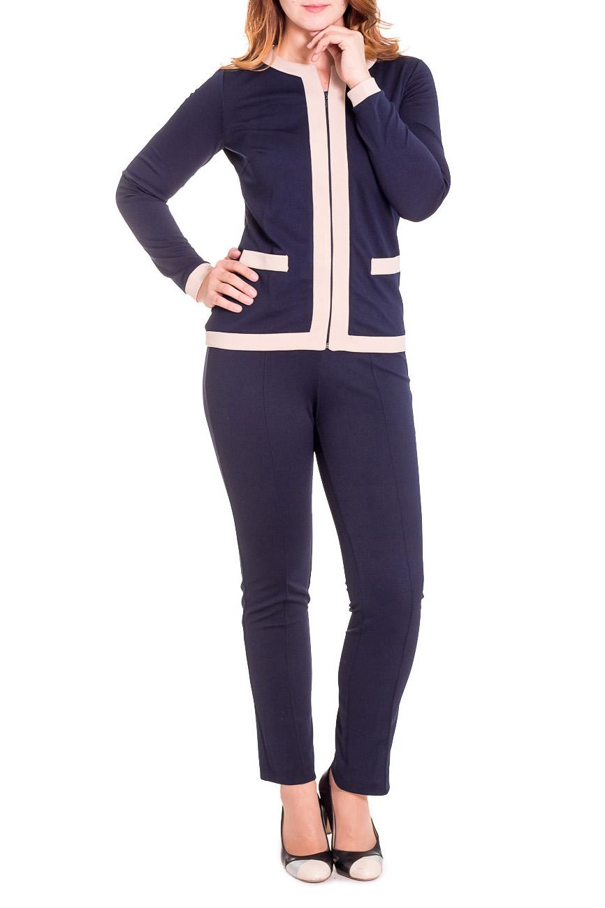 КостюмКостюмы<br>Брючный костюм выполнен из синтетической ткани. Брюки заужены со стрелкой, талия высокая. Блузон с отделочной тканью на контрасте, по низу рукава контрастный манжет, рукав полный. Выполнен в стиле Шанель. При стирке, может немного окрашиваться, рекомендована химчистка  Цвет: синий, бежевый  Рост девушки-фотомодели 180 см.<br><br>По длине: Макси<br>По образу: Город,Офис,Свидание<br>По рисунку: Цветные<br>По сезону: Весна,Осень<br>По силуэту: Полуприталенные<br>По стилю: Офисный стиль,Повседневный стиль,Классический стиль<br>По форме: Брючные,Костюм двойка<br>Рукав: Длинный рукав<br>Горловина: Фигурная горловина<br>Застежка: С молнией<br>По материалу: Трикотаж<br>Размер : 46<br>Материал: Трикотаж<br>Количество в наличии: 1