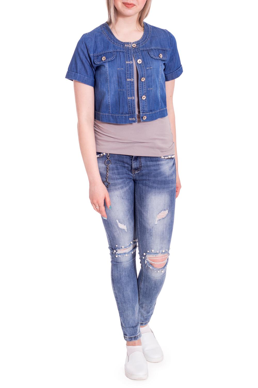 Джинсовая курткаЖакеты<br>Летняя джинсовая куртка с короткими рукавами. Модель выполнена из приятной джинсовой ткани. Отличный выбор для любого случая.В изделии использованы цвета: синий джинсРост девушки-фотомодели 170 см<br><br>Горловина: С- горловина<br>Застежка: С пуговицами<br>Рукав: Короткий рукав<br>Длина: Короткие<br>Материал: Джинс,Хлопок<br>Рисунок: Однотонные<br>Сезон: Лето<br>Силуэт: Полуприталенные<br>Стиль: Кэжуал,Летний стиль,Повседневный стиль<br>Элементы: С карманами,С манжетами<br>Размер : 44-46,46-48<br>Материал: Джинс<br>Количество в наличии: 2