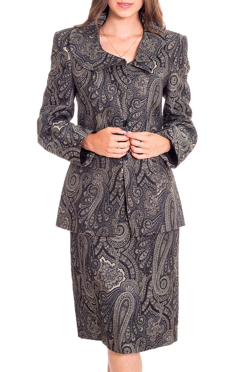 КостюмКостюмы<br>Удобный костюм состоит из жакета и юбки. Модель выполнена из приятного материала. Отличный выбор для повседневного гардероба.  В изделии использованы цвета: серый и др.  Рост девушки-фотомодели 170 см.<br><br>Воротник: Отложной<br>Застежка: С пуговицами<br>По длине: Ниже колена<br>По материалу: Костюмные ткани,Тканевые<br>По рисунку: С принтом,Цветные,Этнические<br>По силуэту: Приталенные<br>По стилю: Повседневный стиль<br>По форме: Костюм двойка,Юбочный костюм<br>Рукав: Длинный рукав<br>По сезону: Осень,Весна<br>Размер : 44<br>Материал: Костюмная ткань<br>Количество в наличии: 1