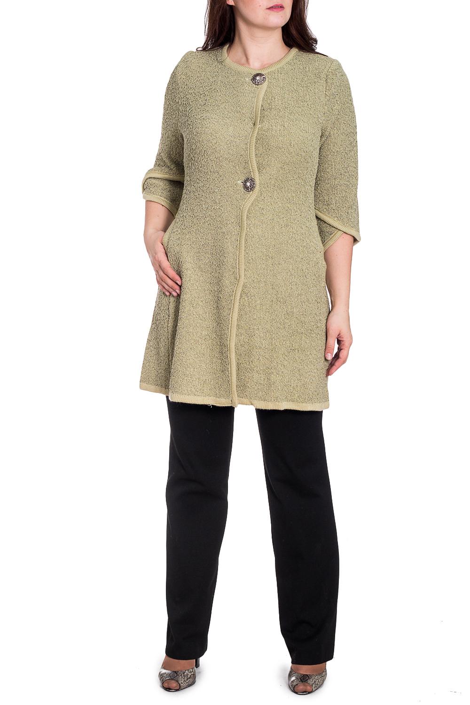 ПальтоЖакеты<br>Классическое пальто с рукавами 3/4. Вязаный трикотаж - это красота, тепло и комфорт. В вязаных вещах очень легко оставаться женственной и в то же время не замёрзнуть. Ростовка изделия 164 см.  В изделии использованы цвета: светло-оливковый  Рост девушки-фотомодели 180 см.<br><br>Горловина: С- горловина<br>Застежка: С пуговицами<br>По длине: Удлиненные<br>По материалу: Вязаные,Трикотаж<br>По рисунку: Однотонные<br>По сезону: Осень,Зима<br>По силуэту: Полуприталенные<br>По стилю: Повседневный стиль<br>Рукав: Рукав три четверти<br>Размер : 50,52,54,56,58,60<br>Материал: Вязаное полотно<br>Количество в наличии: 26