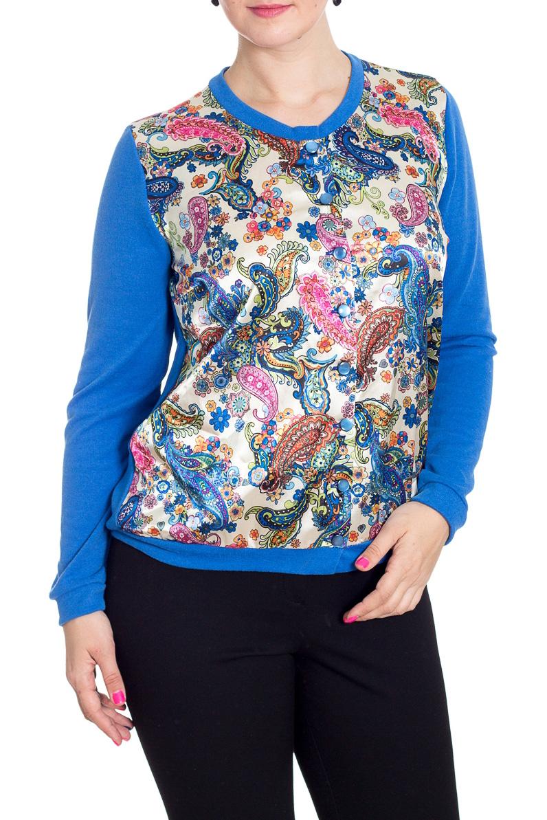 КофтаКардиганы<br>Красивая кофта с круглой горловиной и длинными рукавами. Модель выполнена из однотонного трикотажа со вставкой из цветного атласа. Отличный выбор для повседневного гардероба.  В изделии использованы цвета: синий, белый и др.  Рост девушки-фотомодели 180 см<br><br>Горловина: С- горловина<br>Застежка: С пуговицами<br>По материалу: Трикотаж<br>По рисунку: С принтом,Цветные,Этнические<br>По силуэту: Полуприталенные<br>По стилю: Повседневный стиль<br>По элементам: С манжетами<br>Рукав: Длинный рукав<br>По сезону: Осень,Весна<br>По длине: Средней длины<br>Размер : 52,54,56,58<br>Материал: Трикотаж + Атлас<br>Количество в наличии: 13