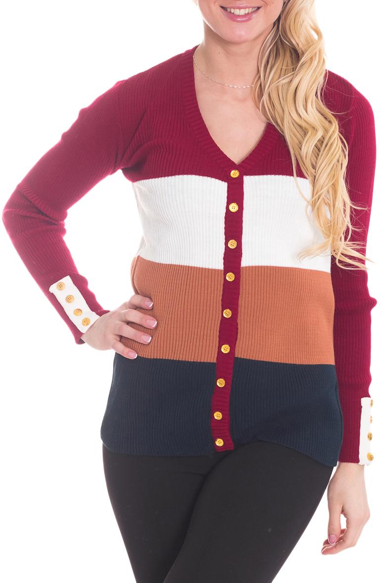 КардиганКардиганы<br>Цветной кардиган с длинными рукавами и застежкой на пуговицы. Вязаный трикотаж - это красота, тепло и комфорт. В вязанной одежде очень легко оставаться женственной и в то же время не замёрзнуть.  Цвет: бордовый, белый и др.  Рост девушки-фотомодели 170 см<br><br>Горловина: V- горловина<br>Застежка: С пуговицами<br>По материалу: Вязаные,Трикотаж<br>По рисунку: В полоску,Цветные<br>По сезону: Зима,Осень,Весна<br>По силуэту: Приталенные<br>По стилю: Кэжуал,Повседневный стиль<br>По элементам: С вырезом,С декором<br>Рукав: Длинный рукав<br>По длине: Средней длины<br>Размер : 44<br>Материал: Вязаное полотно<br>Количество в наличии: 1