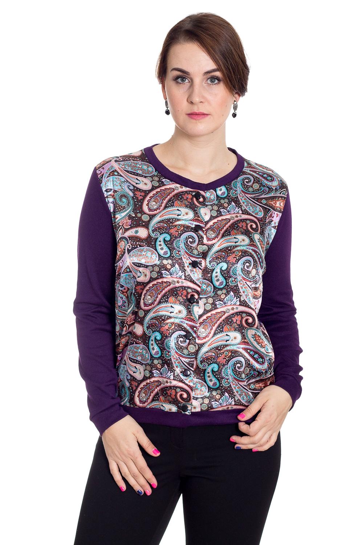 КофтаКардиганы<br>Красивая кофта с круглой горловиной и длинными рукавами. Модель выполнена из однотонного трикотажа со вставкой из цветного атласа. Отличный выбор для повседневного гардероба.  В изделии использованы цвета: фиолетовый, голубой и др.  Рост девушки-фотомодели 180 см<br><br>Горловина: С- горловина<br>Застежка: С пуговицами<br>По материалу: Трикотаж<br>По образу: Город<br>По рисунку: С принтом,Цветные,Этнические<br>По силуэту: Полуприталенные<br>По стилю: Повседневный стиль<br>По элементам: С манжетами<br>Рукав: Длинный рукав<br>По сезону: Осень,Весна<br>По длине: Средней длины<br>Размер : 52,56,58<br>Материал: Трикотаж + Атлас<br>Количество в наличии: 4