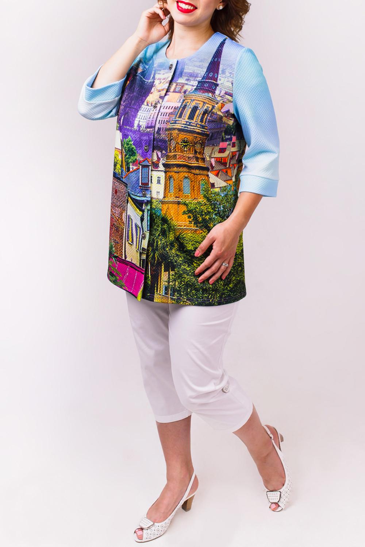 ЖакетЖакеты<br>Потрясающий жакет выполнен из фактурного трикотажного полотна. Вырез горловины круглый. Полочка застегивается на 5 металлических кнопок. Рукав втачной 3/4.  Длина изделия по спинке 74 см  Рост девушки-фотомодели 168 см  В изделии использованы цвета: голубой, мультицвет<br><br>Горловина: С- горловина<br>Застежка: С кнопками<br>По материалу: Трикотаж<br>По рисунку: С принтом,Цветные,Растительные мотивы<br>По сезону: Весна,Зима,Лето,Осень,Всесезон<br>По силуэту: Полуприталенные<br>По стилю: Повседневный стиль<br>По элементам: С манжетами<br>Рукав: Рукав три четверти<br>По длине: Средней длины<br>Размер : 48,54<br>Материал: Трикотаж<br>Количество в наличии: 2