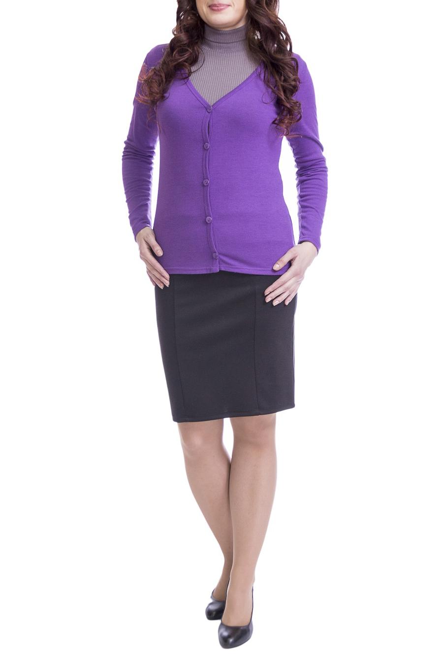 КардиганКардиганы<br>Однотонный кардиган с длинными рукавами и застежкой на пуговицы. Модель выполнена из мягкой вискозы. Отличный выбор для повседневного и делового гардероба.  Цвет: фиолетовый  Рост девушки-фотомодели 170 см.<br><br>Горловина: V- горловина<br>Застежка: С пуговицами<br>По длине: Короткие<br>По материалу: Вискоза,Трикотаж<br>По образу: Город,Офис<br>По рисунку: Однотонные<br>По стилю: Классический стиль,Офисный стиль,Повседневный стиль<br>Рукав: Длинный рукав<br>По сезону: Осень,Весна<br>Размер : 44,46,48,50,52<br>Материал: Вискоза<br>Количество в наличии: 10