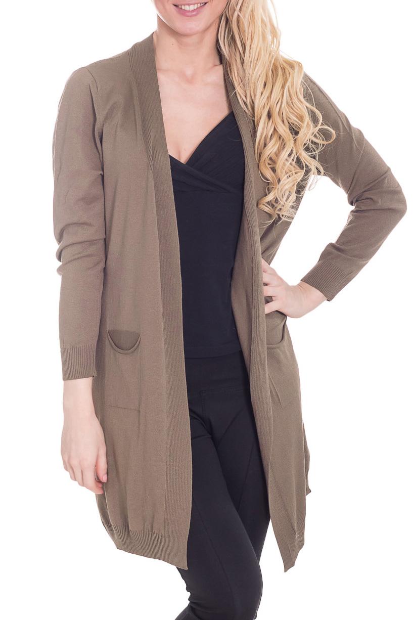 КардиганКардиганы<br>Чудесный кардиган свободного силуэта с длинными рукавами. Модель выполнена из мягкого трикотажа. Отличный выбор для повседневного гардероба.  Цвет: коричневый  Рост девушки-фотомодели 170 см.<br><br>Горловина: V- горловина<br>По материалу: Вискоза,Трикотаж<br>По рисунку: Однотонные<br>По силуэту: Свободные<br>По стилю: Повседневный стиль<br>По элементам: С карманами<br>Рукав: Длинный рукав<br>По сезону: Осень,Весна<br>По длине: Средней длины<br>Размер : 46<br>Материал: Трикотаж<br>Количество в наличии: 1
