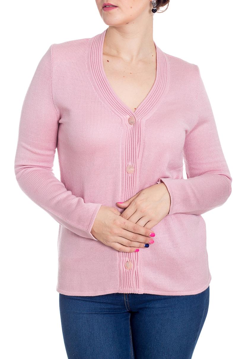 КардиганКардиганы<br>Классический кардиган с застежкой на пуговицы и длинными рукавами. Модель выполнена из вязаного трикотажа. Отличный выбор для повседневного гардероба.  Цвет: розовый  Рост девушки-фотомодели 180 см<br><br>Горловина: V- горловина<br>Застежка: С пуговицами<br>По длине: Короткие<br>По материалу: Вязаные,Трикотаж<br>По рисунку: Однотонные<br>По силуэту: Приталенные<br>По стилю: Повседневный стиль<br>По элементам: С карманами<br>Рукав: Длинный рукав<br>По сезону: Осень,Весна<br>Размер : 48,52,54,56<br>Материал: Вязаное полотно<br>Количество в наличии: 9