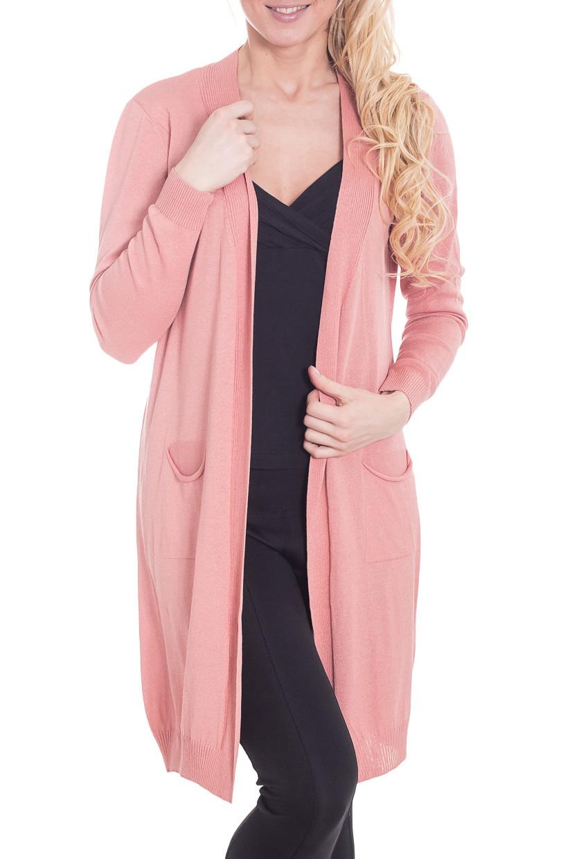 КардиганКардиганы<br>Чудесный кардиган свободного силуэта с длинными рукавами. Модель выполнена из мягкого трикотажа. Отличный выбор для повседневного гардероба.  Цвет: светло-розовый  Рост девушки-фотомодели 170 см.<br><br>Горловина: V- горловина<br>По материалу: Вискоза,Трикотаж<br>По рисунку: Однотонные<br>По силуэту: Свободные<br>По стилю: Повседневный стиль<br>По элементам: С карманами<br>Рукав: Длинный рукав<br>По сезону: Осень,Весна<br>По длине: Средней длины<br>Размер : 44,46<br>Материал: Вискоза<br>Количество в наличии: 2