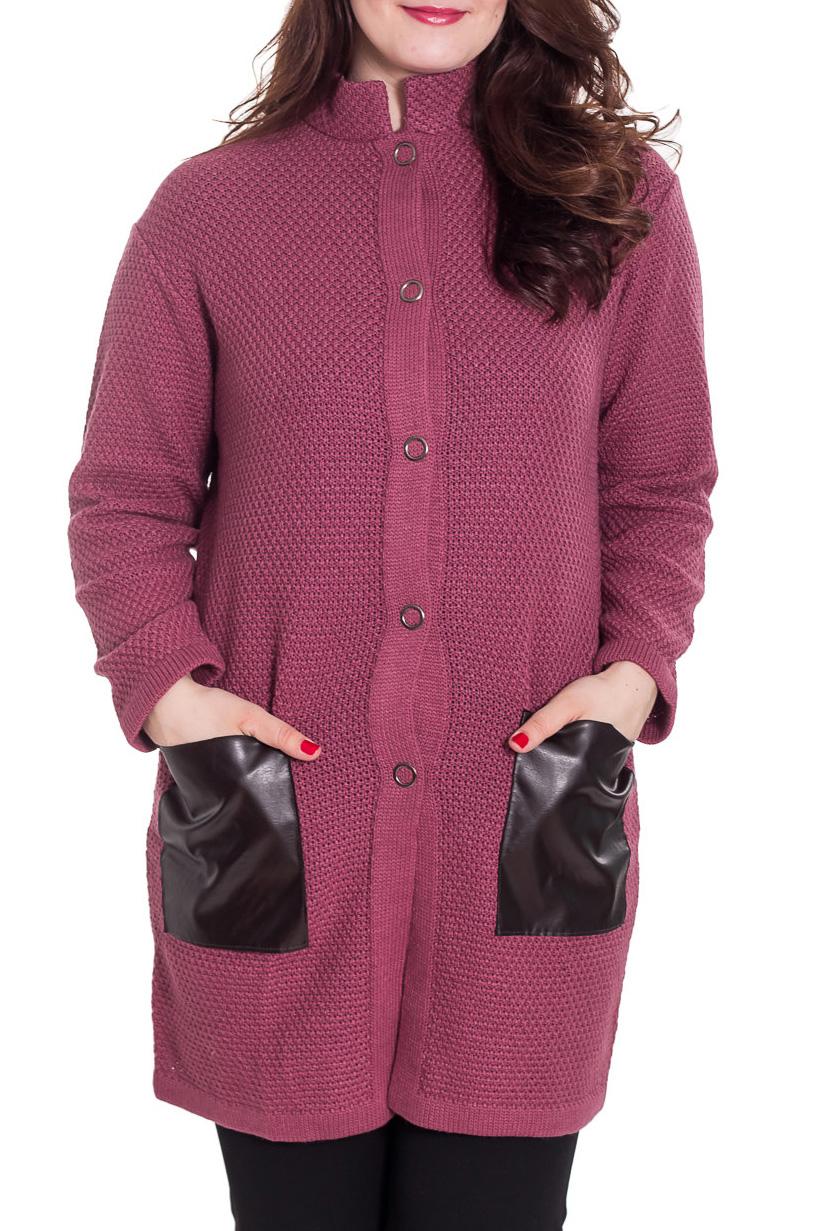 КардиганКардиганы<br>Однотонный кардиган с длинными рукавами. Застежка на пуговицы. Вязаный трикотаж - это красота, тепло и комфорт. В вязанной одежде очень легко оставаться женственной и в то же время не замёрзнуть. Можно носить как летнее пальто.  Цвет: брусничный, черный  Рост девушки-фотомодели 180 см<br><br>Воротник: Стойка<br>Застежка: С пуговицами<br>По материалу: Вязаные,Трикотаж,Шерсть<br>По рисунку: Однотонные<br>По силуэту: Прямые<br>По стилю: Повседневный стиль<br>По элементам: С карманами<br>Рукав: Длинный рукав<br>По сезону: Осень,Весна,Зима<br>По длине: Средней длины<br>Размер : 48,52<br>Материал: Вязаное полотно<br>Количество в наличии: 4